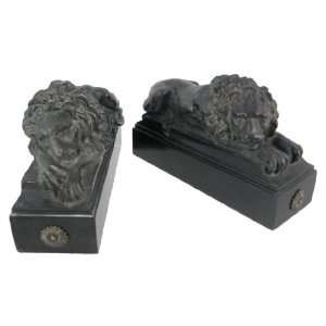 Cast Iron Look Resting Lion Bookends Book Ends Leo