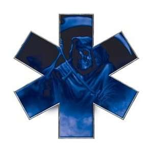 Grim Reaper Star of Life EMT EMS Blue 12 Reflective Decal Automotive