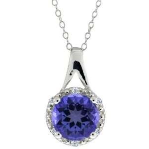 44 Ct Round Tanzanite Blue Mystic Topaz and Diamond Sterling Silver