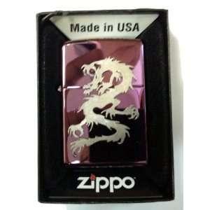 Zippo Custom Lighter   Chinese Fire Breathing Tribal Dragon Emblem