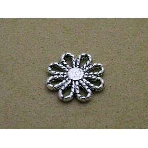 10 Pcs Tibetan Silver Flower Connectors or Bails 12mm