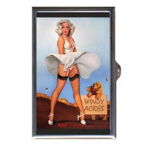 PIN UP GIRL DOG WIND BLOWING DRESS Coin, Mint or Pill Box