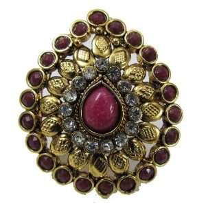 Iba Pink Gold Tone Ring Jodha Akbar Style Kundan Adjustable Wedding