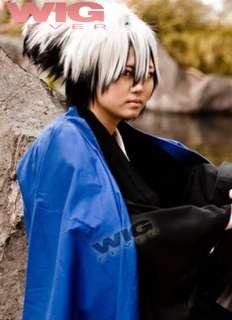 Nurarihyon no Mago Nura Rikuo Long White Mixed Black Cosplay Hair Wig