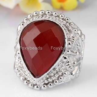 Vintage Faceted Red Agate Gemstone Gem Rhinestone Finger Cocktail Ring