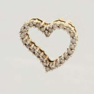Fine Estate 14k Yellow Gold Diamond Heart Necklace