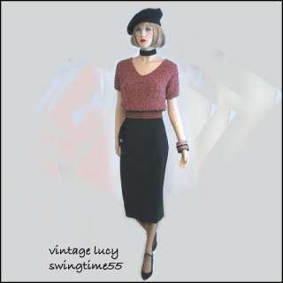 VINTAGE 50s 60s CUTE UNIQUE NOVELTY BUTTON SKIRT DRESS SWEATER M L