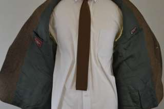 Jos. A Bank Mens 100% Wool Tweed Brown Herringbone Sports Coat Blazer