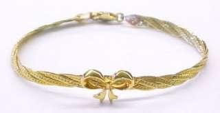 Gold Plate Sterling Silver BOW Accent Bracelet ~ 7 1/2