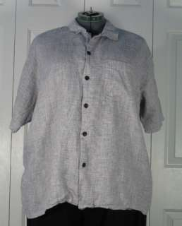 Flax   S/S Linen Camp Shirt Black & White Screen medium
