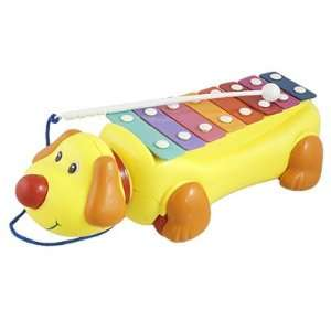 Yellow Dog Shaped Knocked Serinette Music Maker Tow Truck Toy Baby