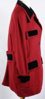 Moschino Cheap and Chic Red Wool Black Velvet Coat Jacket Outerwear