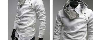 Mens Slim Top Hoodies Sweatshirt Jacket Dark Grey M L XL 1009