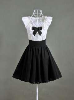 Boho Style New arrival Black White Bowite Women Chiffon Mini Dresse
