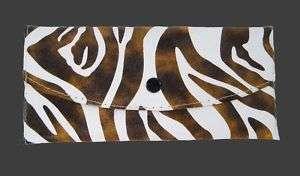 ZEBRA ANIMAL PRINT CHECKBOOK CLUTCH WALLET PURSE BROWN
