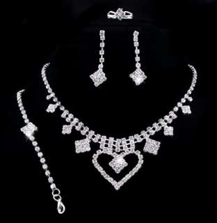1240 Heart Rhombus Rhinestone Crystal Clear Bridal Prom Necklace 1set