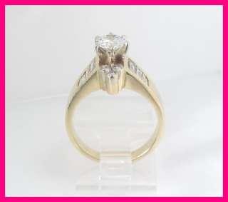 Ladies 14k Yellow Gold Round & Emerald Cut Diamond Wedding Ring 1.55
