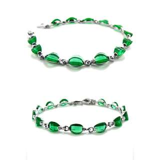 Christmas Gift JEWELRY GREEN EMERALD WHITE GOLD GP TENNIS FASHION