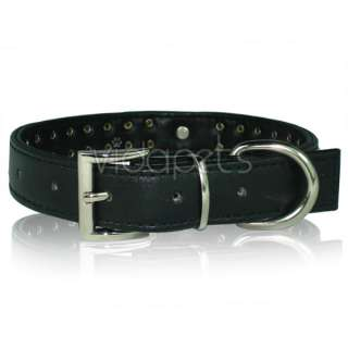 15 18 Black Leather 32 Rhinestone Dog Collar Medium