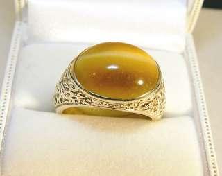 10K Yellow Gold Large Tigers Eye Ring 10.12 Grams