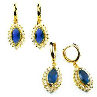 FASHION LADY JEWELRY NIB BLUE SAPPHIRE YELLOW GOLD GP EARINGS BIG
