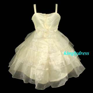 NEW Flower Girl Pageant Wedding Bridesmaid Princess Party Dress Top SZ