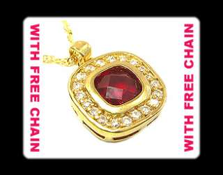 Fine Laser Cut Red Ruby 18K Gold Plated Pendant Gift