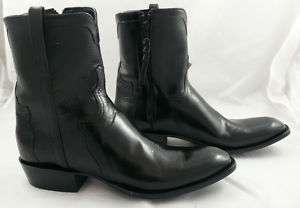 Lucchese Cowboy Boots Black Calf Pony Matador 13E Zip