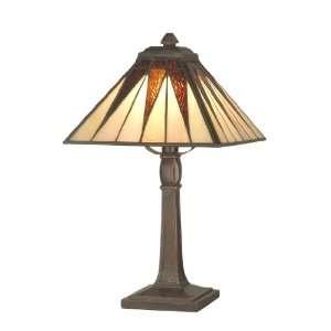 Dale Tiffany TA70680 Cooper Accent Lamp, Antique Bronze and Art Glass