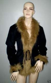 NWT Black Faux Fur Hood Georgiou Studio Jacket S $159