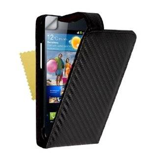 Black Carbon Fibre Leather Flip Case Cover With Magnetic Close For The