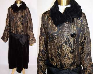 Vintage 1920s Black Velvet Gold Metallic Lamé Opera Coat Dress