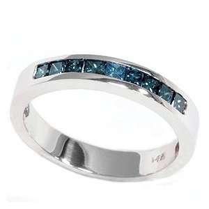 REAL .50CT PRINCESS CUT BLUE DIAMOND CHANNEL SET WEDDING