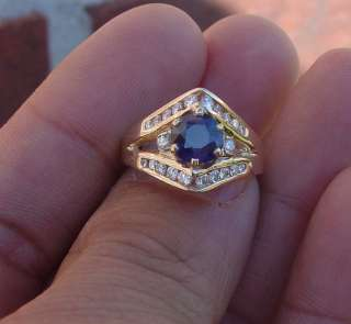 65CT Diamond Genuine Blue sapphire diamond ring 14k YG 6.75