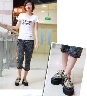 Print Vintage Flat Platform Wedge Oxfords Shoes Loafers 1k5