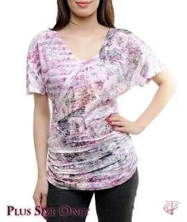 Cute Pink/White Burnout PLUS SIZE Top Size 1X/2X/3X