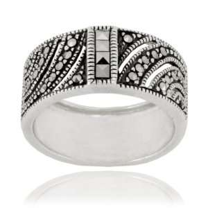 Sterling Silver Marcasite Square Cut Wide Band Ring, Size