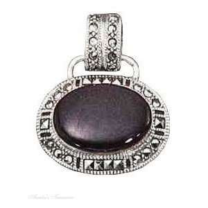 Sterling Silver Marcasite Oval Black Onyx Pendant Jewelry