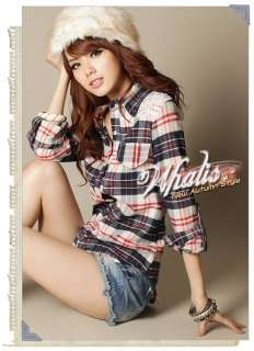 new 2012 Women Casual plaid Tunic T Shirt Blouse Tops Long Sleeve