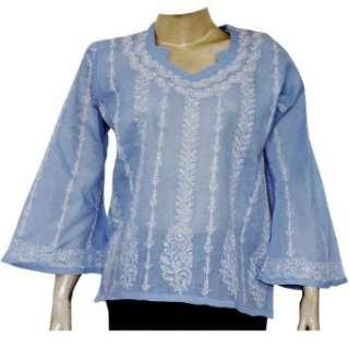 Kurti India Dress Womens Top Casual Wear Chikan Embroidery