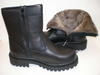 NIB Mens Peppergate Faux Fur Lined Leather Winter Boots Black