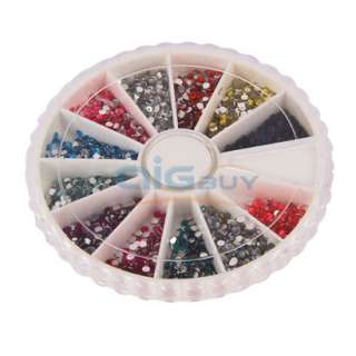 2400 Nail Art Gems Case Rhinestones Round Diamante + 2 X Nail Art