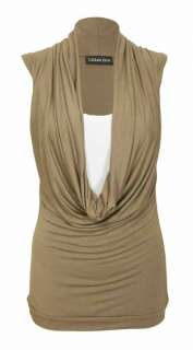 WOMENS COWL SCOOP NECK STRETCH INSERT LADIES CONTRAST LAYER SLEEVELESS