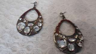 BEBE earrings tear drop rhinestone silver NEW NEVER USED