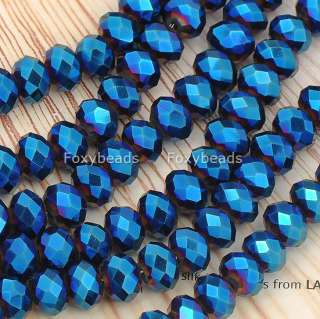6x8mm Blue Faceted CrystaL Glass Rondelle Loose Beads Jewels 15L