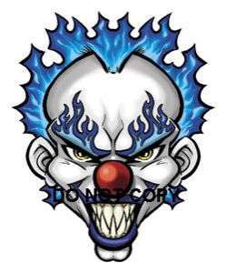 Evil Blue Clown Nail Decal set of 20