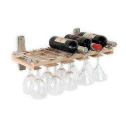 Wall Mount Wine Bottle Stemware Glass Rack   Ash 23158440047