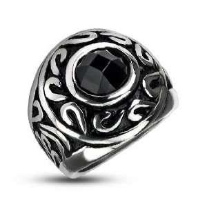 Black Stone Center Cast Ring   Size 12 West Coast Jewelry Jewelry