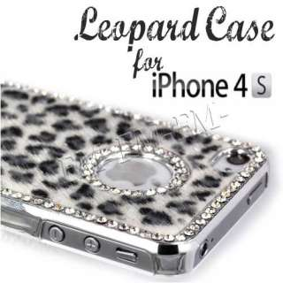 BLACK & WHITE BLING DIAMOND LEOPARD CASE COVER BACK FOR APPLE IPHONE