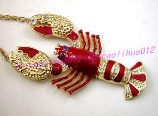 Betsey Johnson Large Red Lobster charms Necklace